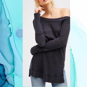 Free People Kate Thermal Shirttail Charcoal